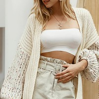 Cozy Kisses White Fleck Long Lantern Sleeve V Neck Open Front Chunky Cardigan Sweater