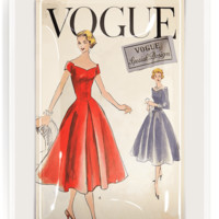Vintage Vogue Special Dresses Red Decoupage Glass Tray