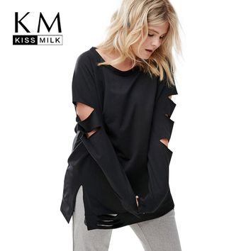 Kissmilk Plus Size Women Casual Black Cut Out Distressed Tops Long Sleeve Ripped Big Size Sweatershirt Hoodie Outfits 3XL 4XL 5X