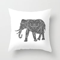 Elephant Storm Grey Gray White Pillow Cover  India Indian Boho Bohemian Mandala Design Indoor or Outdoor  Pillow Case 16x16 18x18 20x20