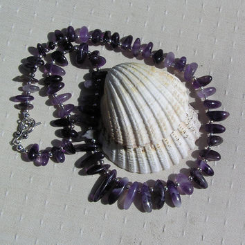 "Amethyst & Sterling Silver Crystal Gemstone Necklace - ""Lavender Whispers"""