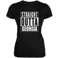 Straight Outta Georgia Black Juniors Soft T-Shirt