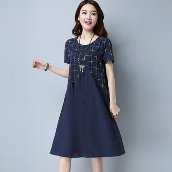 Fashion Summer Style Cotton Linen Dress Vintage Plaid Print Women Casual Loose Midi Dress Vestidos Femininos Party Dresses