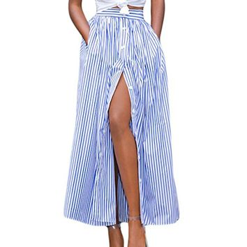 Lalagen Women's Striped Front Slit Ankle Length Button Front High Waist Maxi Skirt