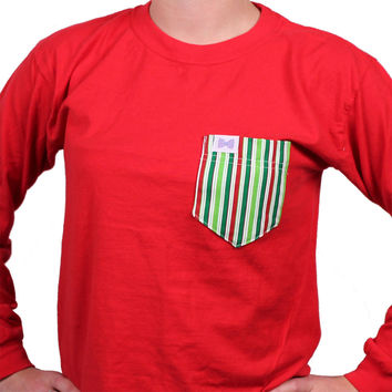 The Ewell Unisex Long Sleeve Tee Shirt in Red with Holiday Striped Pocket by the Fraternity Collection