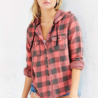 BDG Hooded Double-Cloth Button-Down Flannel Shirt Jacket - Urban Outfitters
