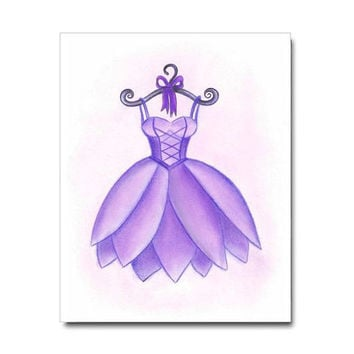 Girls Wall Art, Ballet Purple Dress Art Print, Girls room Decor, Ballerina Nursery, Kids Art Decor, Baby Girl Nursery