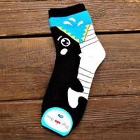 Adorable Killer Whale Bite Socks Animal Shaped Short Cotton Socks for Women