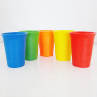 Set of 5 Vintage Tupperware Cups Bright Colors Retro Tumblers Glasses Retro Tupperware Glasses Retro Cups Vintage Cups Retro Kitchen