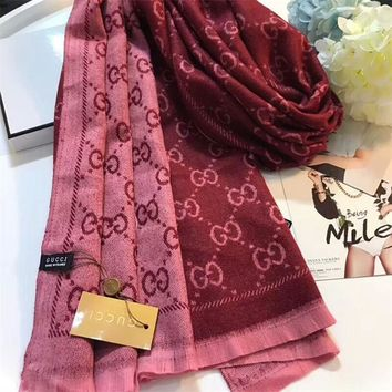 Luxury Gucci Keep Warm Scarf Jacquard Scarves Winter Wool Beautiful Shawl Red Pink