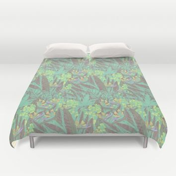 Tropical Paradise: Jade Jungle Duvet Cover by Ben Geiger