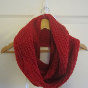 Cherry Red Scarf - Bright Red Scarf - Warm Winter Scarf - Soft Acrylic Scarf - Hand Knit Scarf - Infinity Scarf - Womens Scarf - Knitted