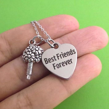 Best Friends Forever, Bouquet, Silver, Keychain, Bangle, Necklace, Heart, Lover, Necklace, Birthday, Lovers, Friends, Christmas, Gift
