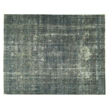 Pre-owned Persian Overdyed Blue Tabriz Rug - 10' X 12'