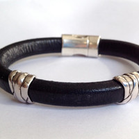 Women's leather bracelet. Men's cuff. Antique silver knot sliders. Magnetic clasp