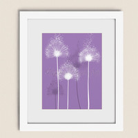Purple Home Decor Nature Wall Art, 11 x 14 Dandelion Wall Print, Girls Room Artwork (51)