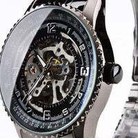 Black Metal Stainless Steel Strap Round Shape Skeleton Watch