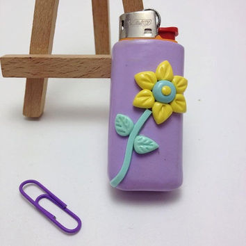 ON SALE Lighter Case, Lilac with a Yellow Flower, Lighter Cover, Polymer Clay, Handmade, Clay Accessories, Gift for Her, Fimo, Unique Gift,