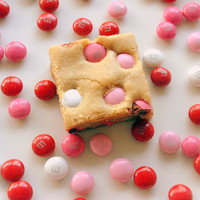 Valentine's Day Brown Sugar Blondies - Pink Red White Sugar Cookie Bars - nine bars