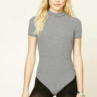 Striped Mock Neck Bodysuit