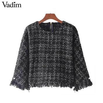 Vadim vintage fringe tassel  pearls plaid shirt beading chic o neck zipper retro blouse female brand casual tops blusas LT2269