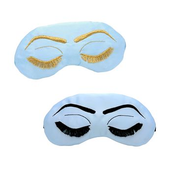 Powder Blue + Black or Gold Vintage Glam Eyelashes Sleep Mask