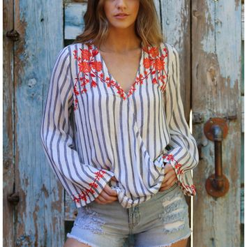 Striped Blouse with Floral Accent