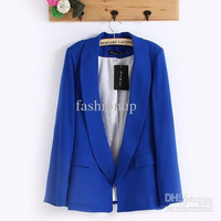 2013 New Style Womens Jackets No Button Blazers Slim Turndown Collar Suits 4 Color European Style Outwear Autumn Clothing Size S/M/L YY8-627