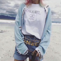 CHANEL Women Embroidery Simple T-shirt
