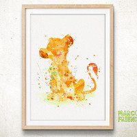 Disney Lion King, Simba - Watercolor, Art Print, Home Wall decor, Watercolor Print, Nersery Poster, Disney Poster