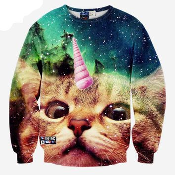 Lovely Ice Cream Cone Cat Hoodies - Men's Novelty Pullover Hooded Sweatshirts