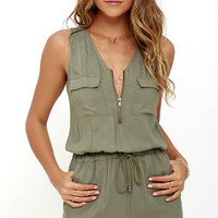 Olive & Oak Set Free Olive Green Romper