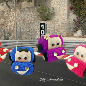 6CT Washcloth Car Baby Shower Party Favor Diaper Cake Race Car Baby Shower Centerpiece Baby Boy Newborn Shower Gift Disney Cars Cake Topper