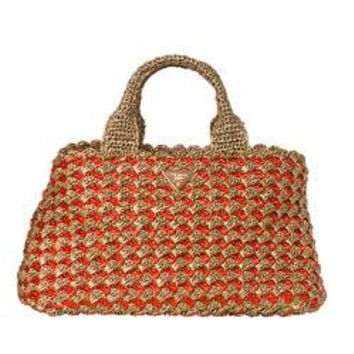 Prada Honey/ Orange Bi-Color Raffia Tote Bag | Overstock.com