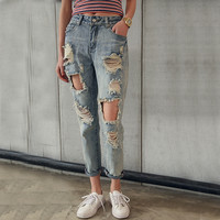 Summer 2016 Korean Women Jeans Nine knee Big Hole Jeans Woman Washing Pants Worn Haren Sexy Ripped Jeans For Women