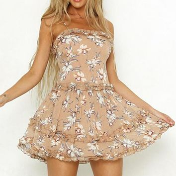Sexy Strap Print Lace Short Dress Women Ruffle Backless A-Line Dress Female Holiday Floral Dress