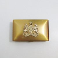Vintage Vanity Case: Gold Tone Elgin American Compact with Coat of Arms