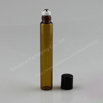 24pcs 10ml amber roll on roller bottles for essential oils roll-on refillable perfume bottle deodorant containers with black lid
