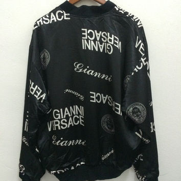 Rare!! Vintage Gianni Versace Full Print Reversible Back Medusa Head Big Logo Embroidered Black Shiny Silk Jacket 90s Hip Hop Swag Baroque