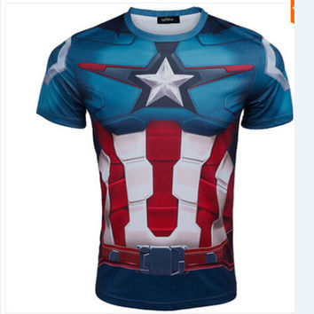 Marvel Super Hero Captain America Batman T shirt Men Armour Base Layer Short Sleeve Thermal Under Top Fitness tshirt homme