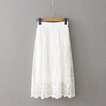 Spring Tutu Skirt High-Waist White Lace Skirts Womens Saias Long Skirt Elastic Waist Summer Tutu Skirt Jupe Longue Femme C2931