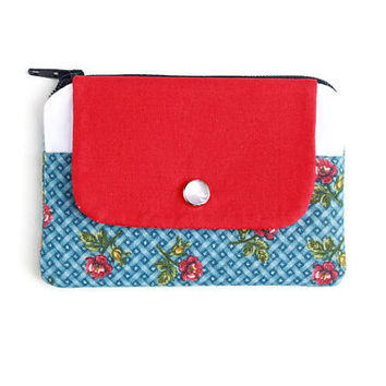 Coin Purse & Card Holder in Red Roses, Red White and Blue Stylish Pocket Wallet, Card Case, Zippered Pouch, Free Shipping
