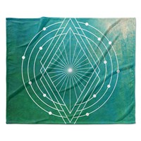 "Matt Eklund ""Atlantis"" Teal Geometric Fleece Throw Blanket"