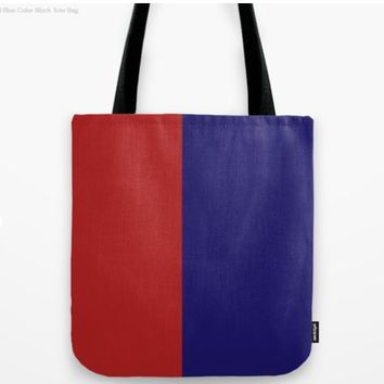 Red and Blue Color Block by tropicdesign2018