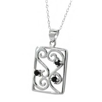 "0.15 Ct Round Black Diamond Sterling Silver Pendant 18"" Sterling Silver Chain"