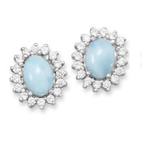 Larimar and CZ Stud Earrings