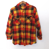 Vintage Rugged 80s Mens Frostproof Wool Shirt Red Plaid Thick Flannel Hipster Winter Lumberjack Hunting Button Up Shirt Coat Punk Grunge