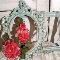 Vintage Shabby chic frame set, French blue adorned with pink peonies ooak Anita Spero