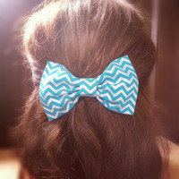 Chevron Hair Bow, Clip on Hair bow, Hair bows for teens, bun bows
