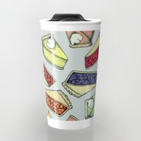Easy As Pie - cute hand drawn illustrations of pie on sage green Travel Mug by Perrin Le Feuvre | Society6
